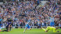 Anthony Knockaert of Brighton & Hove Albion (11) Scores his teams first goal of the game and celebrates during the Premier League match between Brighton and Hove Albion and Everton at the American Express Community Stadium, Brighton and Hove, England on 15 October 2017. Photo by Edward Thomas / PRiME Media Images.