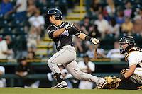 Jupiter Hammerheads catcher Chris Hoo (8) at bat during a game against the Bradenton Marauders on April 18, 2015 at McKechnie Field in Bradenton, Florida.  Bradenton defeated Jupiter 4-1.  (Mike Janes/Four Seam Images)