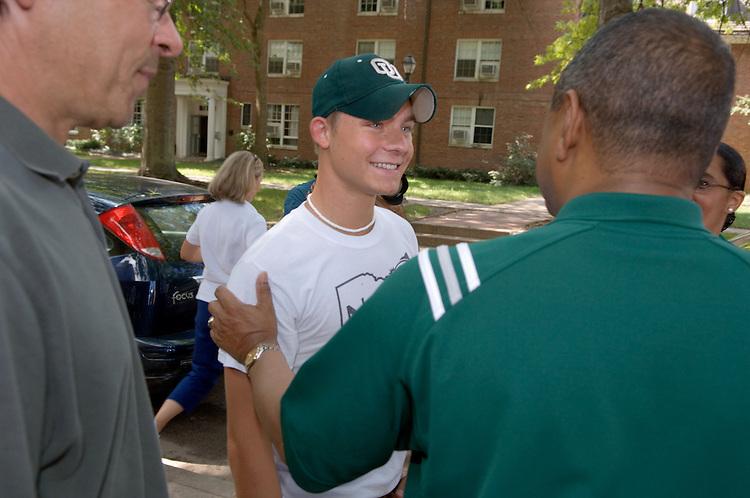 President McDavis Greets Student Bob Pelander