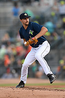 Starting pitcher Christian James (30) of the Columbia Fireflies delivers a pitch in a game against the Augusta GreenJackets on Saturday, June 1, 2019, at Segra Park in Columbia, South Carolina. Columbia won, 3-2. (Tom Priddy/Four Seam Images)