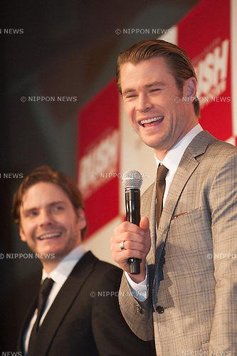 January 30, 2014 : Tokyo, Japan - Chris Hemsworth and Daniel Bruhl appear at the Japan Premiere for RUSH by Ron Howard in the Yurakucho Marion, Tokyo, Japan. (Photo by Yumeto Yamazaki/NipponNews)