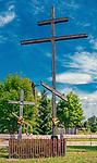 Dwa prawosławne krzyże przy wjeździe do Kruszynian, Polska<br /> Two Orthodox crosses at the entrance to Kruszyniany, Poland
