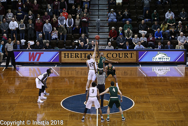 SIOUX FALLS, SD: MARCH 20:  West Texas A&M and Le Moyne tip off during their game at the 2018 Division II Men's Elite 8 Basketball Championship at the Sanford Pentagon in Sioux Falls, S.D. (Photo by Dick Carlson/Inertia)