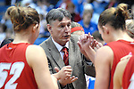 10 January 2009:  New Mexico head coach, Don Flanagan, gives instructions during the Lobos 73-39 victory over Mountain West Conference rival Air Force at Clune Arena, U.S. Air Force Academy, Colorado Springs, Colorado.