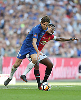 Chelsea's Marcos Alonso and Manchester United's Luis Antonio Valencia<br /> <br /> Photographer Rob Newell/CameraSport<br /> <br /> Emirates FA Cup Final - Chelsea v Manchester United - Saturday 19th May 2018 - Wembley Stadium - London<br />  <br /> World Copyright &copy; 2018 CameraSport. All rights reserved. 43 Linden Ave. Countesthorpe. Leicester. England. LE8 5PG - Tel: +44 (0) 116 277 4147 - admin@camerasport.com - www.camerasport.com