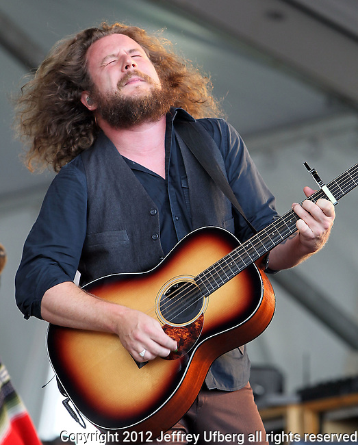 NEW ORLEANS, LA - MAY 05: Singer/musician Jim James of My Morning Jacket performs during the 2012 New Orleans Jazz & Heritage Festival at the Fair Grounds Race Course on May 5, 2012 in New Orleans, Louisiana.