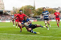 Aled Brew of Bath Rugby dives for the try-line in the second half. Aviva Premiership match, between Bath Rugby and Worcester Warriors on October 7, 2017 at the Recreation Ground in Bath, England. Photo by: Patrick Khachfe / Onside Images