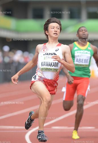 Takuya Kawakami (JPN), Amanuel Abebe (ETH),<br /> JULY 22, 2014 - Athletics :<br /> IAAF World Junior Championships Men's 100m Heats at Hayward Field in Eugene, Oregon, United States. (Photo by AFLO)