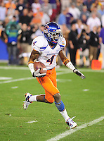 Jan. 4, 2010; Glendale, AZ, USA; Boise State Broncos wide receiver (4) Titus Young against the TCU Horned Frogs in the 2010 Fiesta Bowl at University of Phoenix Stadium. Boise State defeated TCU 17-10. Mandatory Credit: Mark J. Rebilas-