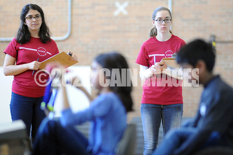 SODYSSEY28P<br /> Judges Olivia Fay, left, and Emily Wieder  watch as Afton Elementary School demonstrates their solution to No-Cycle Recycle during the Southeast Pennsylvania Odyssey of the Mind tournament Saturday February 27, 2016 at Pennsbury High School West in Fairless Hills, Pennsylvania. (William Thomas Cain/For The Inquirer)