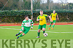 In Action Mitchels Sean O'Reilly  gets away from  celtic's Wayne Sparling in the  Munster Junior Cup 2nd Round Mitchels Avenue v Killarney Celtic at Mounthawk Park on Sunday