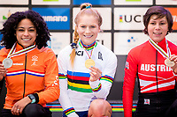 Picture by Alex Whitehead/SWpix.com - 03/02/2018 - Cycling - 2018 UCI Cyclo-Cross World Championships - Valkenburg, The Netherlands - Great Britain's Evie Richards wins Gold in the Women's U23 race, Silver - Netherlands' Ceylin Del Carmen Alvarado, Bronze - Austria's Nadja Heigl.