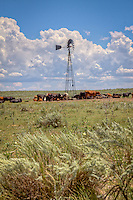 A Windmill provides water for cattle grazing on the Cimarron National Grassland in western Kansas.