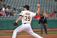 Jarrett Grube (39) of the Salt Lake Bees in action against the Sacramento River Cats at Smith's Ballpark on April 3, 2014 in Salt Lake City, Utah.  (Stephen Smith/Four Seam Images)