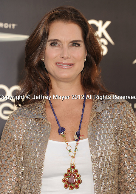 HOLLYWOOD, CA - JUNE 08: Brooke Shields arrives at the 'Rock Of Ages' - Los Angeles Premiere at Grauman's Chinese Theatre on June 8, 2012 in Hollywood, California.