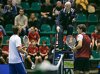 20-12-13,Netherlands, Rotterdam,  Topsportcentrum, Tennis Masters, Jesse Huta Galung (NED) and  Boy Westerhof (NED)(L) dont shake hands after the match<br />