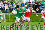 Kevin McCarthy Kilcummin using great technique to get past Tom Leo O'Sullivan Dingle during their SFC relegation play off in Killorglin on Sunday
