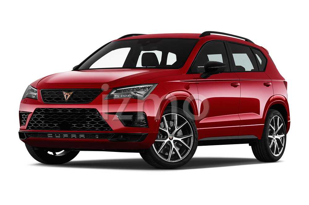 Stock pictures of low aggressive front three quarter view of 2019 Cupra Ateca Xcellence 5 Door SUV Low Aggressive