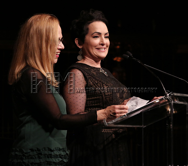 Go-Go's: Charlotte Caffey and Jane Wiedlin on stage at the  2017 Dramatists Guild Foundation Gala presentation at Gotham Hall on November 6, 2017 in New York City.
