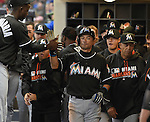 Ichiro Suzuki (Marlins), APRIL 29, 2016 - MLB : Miami Marlins' Ichiro Suzuki celebrates after getting his 500 steals during the first inning of a baseball game on April 29, 2016 in Milwaukee. (Photo by AFLO)
