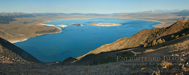 Panorama overlooking Mono Lake as seen from high above Lee Vining; Mono County; California