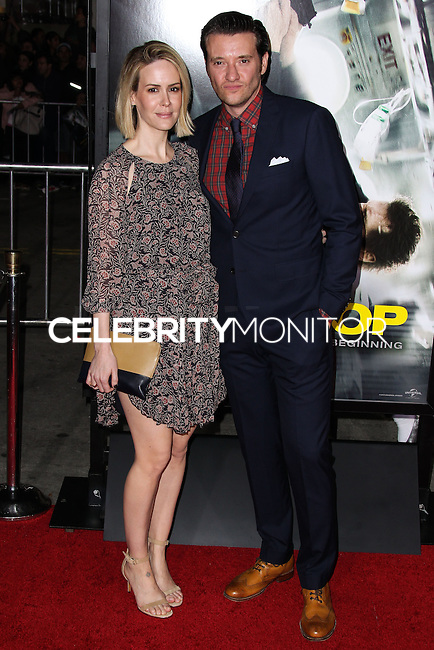 "WESTWOOD, CA, USA - FEBRUARY 24: Sarah Paulson, Jason Butler Harner at the World Premiere Of Universal Pictures And Studiocanal's ""Non-Stop"" held at Regency Village Theatre on February 24, 2014 in Westwood, Los Angeles, California, United States. (Photo by Xavier Collin/Celebrity Monitor)"