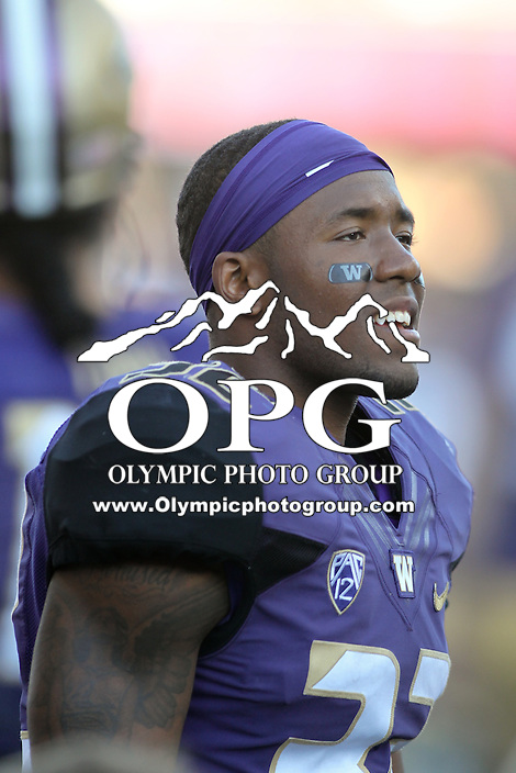 Sept 20, 2014:  Washington's Budda Baker against Georgia State.  Washington defeated Georgia State 45-14 at Husky Stadium in Seattle, WA.