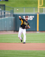 Nolan Fontana (4) of the Salt Lake Bees during the game against the El Paso Chihuahuas in Pacific Coast League action at Smith's Ballpark on April 30, 2017 in Salt Lake City, Utah. El Paso defeated Salt Lake 12-3. This was Game 2 of a double-header originally scheduled on April 28, 2017. (Stephen Smith/Four Seam Images)