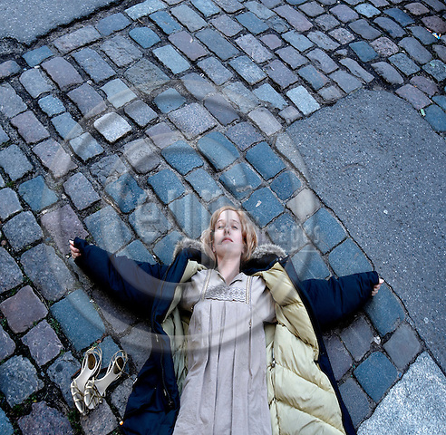 """BERLIN - GERMANY 15. JANUARY 2007 -- The danish fashion designer Sarah HeartBo (given name: Elbo), 34, outside her atelier in Oderbergerstrasse in Berlin-Prenzlauerberg -- PHOTO: CHRISTIAN T. JOERGENSEN / EUP & IMAGES....This image is delivered according to terms set out in """"Terms - Prices & Terms"""". (Please see www.eup-images.com for more details)"""