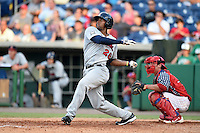 Brevard County Manatees  outfielder Victor Roach (28) at bat during a game against the Clearwater Threshers on June 28, 2014 at Bright House Field in Clearwater, Florida.  Brevard County defeated Clearwater 6-4.  (Mike Janes/Four Seam Images)