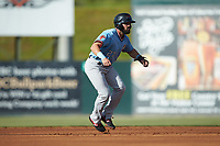 Tanner Gardner (27) of the Hickory Crawdads takes his lead off of second base against the Kannapolis Intimidators at Kannapolis Intimidators Stadium on May 6, 2019 in Kannapolis, North Carolina. The Crawdads defeated the Intimidators 2-1 in game one of a double-header. (Brian Westerholt/Four Seam Images)