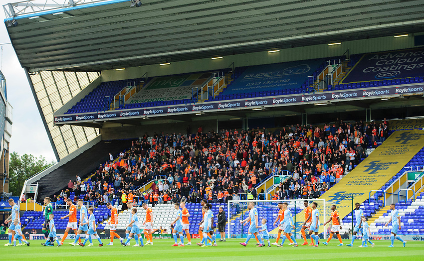 The Coventry City and Blackpool players make their way out onto the pitch ahead of the game with the Blackpool fans in the background <br /> <br /> Photographer Chris Vaughan/CameraSport<br /> <br /> The EFL Sky Bet League One - Coventry City v Blackpool - Saturday 7th September 2019 - St Andrew's - Birmingham<br /> <br /> World Copyright © 2019 CameraSport. All rights reserved. 43 Linden Ave. Countesthorpe. Leicester. England. LE8 5PG - Tel: +44 (0) 116 277 4147 - admin@camerasport.com - www.camerasport.com