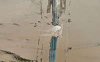 Flooding of St Vrain River in Weld County, Colorado near Platteville, Colorado.  Washout of Hwy 66.
