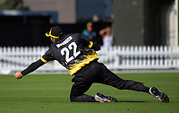 Steve Murdoch catches Dean Brownlie during the Ford Trophy cricket match between the Wellington Firebirds and Northern Districts at Hawkins Finance Basin Reserve, Wellington, New Zealand on Saturday, 27 January 2018. Photo: Dave Lintott / lintottphoto.co.nz