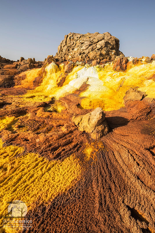 Incredible colours and formations at the Dallol sulphur springs in the Danakil Depression, Ethiopia, Africa