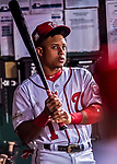 6 October 2017: Washington Nationals infielder Wilmer Difo holds a bat in the dugout during the first game of the NLDS against the Chicago Cubs at Nationals Park in Washington, DC. The Cubs shut out the Nationals 3-0 to take a 1-0 lead in their best of five Postseason series. Mandatory Credit: Ed Wolfstein Photo *** RAW (NEF) Image File Available ***