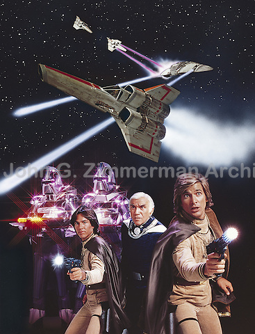 Battlestar Galactica TV Show (L to R): RIchard Hatch, Loren Greene, Dirk Benedict, 1978. Photographer John G. Zimmerman
