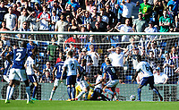West Bromwich Albion's Jake Livermore scores the opening goal <br /> <br /> Photographer Ashley Crowden/CameraSport<br /> <br /> The Premier League - West Bromwich Albion v Tottenham Hotspur - Saturday 5th May 2018 - The Hawthorns - West Bromwich<br /> <br /> World Copyright &copy; 2018 CameraSport. All rights reserved. 43 Linden Ave. Countesthorpe. Leicester. England. LE8 5PG - Tel: +44 (0) 116 277 4147 - admin@camerasport.com - www.camerasport.com