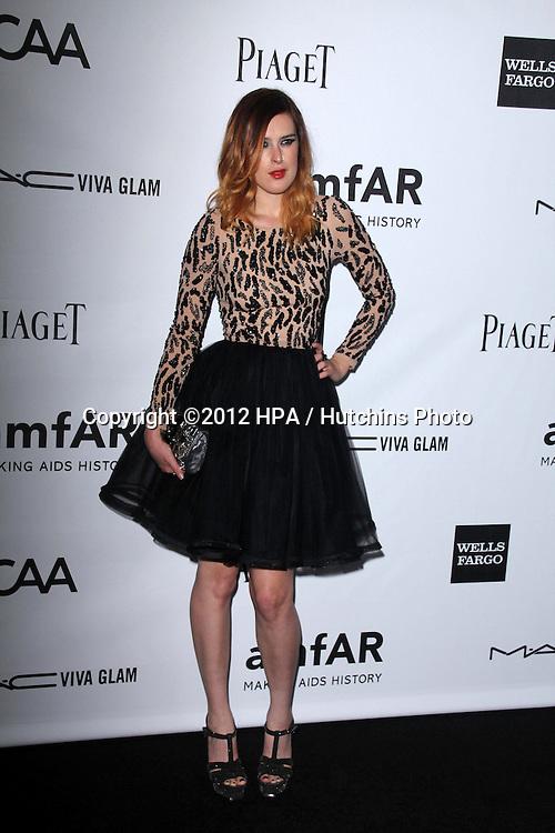 LOS ANGELES - OCT 11:  Rumer Willis arrives at the amfAR Inspiration Gala Los Angeles at Milk Studios on October 11, 2012 in Los Angeles, CA