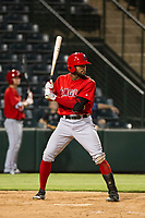 AZL Angels designated hitter Jordon Adell (25) bats during a game against the AZL Giants on July 9, 2017 at Diablo Stadium in Tempe, Arizona. AZL Giants defeated the AZL Angels 8-4. (Zachary Lucy/Four Seam Images)