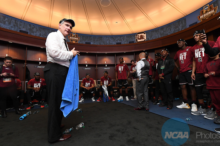 NEW YORK, NY - MARCH 26: Head coach Frank Martin of the South Carolina Gamecocks in the locker room after beating the Florida Gators during the 2017 NCAA Men's Basketball Tournament held at Madison Square Garden on March 26, 2017 in New York City. (Photo by Justin Tafoya/NCAA Photos via Getty Images)