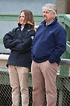 March 14, 2020: Trainer Steve Asmussen with his son while watching the Essex Handicap at Oaklawn Racing Casino Resort in Hot Springs, Arkansas on March 14, 2020. Justin Manning/Eclipse Sportswire/CSM
