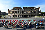 The peleton pass by the Collosseum during the neutralized Stage 21 of the 2018 Giro d'Italia, running 115km around the centre of Rome, Italy. 27th May 2018.<br /> Picture: LaPresse/Fabio Ferrari | Cyclefile<br /> <br /> <br /> All photos usage must carry mandatory copyright credit (&copy; Cyclefile | LaPresse/Fabio Ferrari)