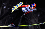 SHOHEI TOCHIMOTO of Japan soars through the air during the FIS World Cup Ski Jumping in Sapporo, northern Japan in February, 2008.