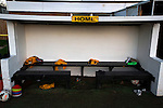 The home dugout pictured at half-time at Lye Meadow as Alvechurch hosted Highgate United in a Midland Football League premier division match. Originally founded in 1929 and reformed in 1996 after going bust, the club has plans to move from their current historic ground to a new purpose-built stadium in time for the 2017-18 season. Alvechurch won this particular match by 3-0, watched by 178 spectators, taking them back to the top of the league.