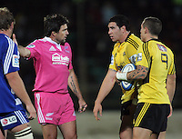 Jeffrey Toomaga-Allen has a chat with referee Steve Walsh during the Super Rugby match between the Hurricanes and Stormers at FMG Stadium, Palmerston North, New Zealand on Friday, 26 April 2013. Photo: Dave Lintott / lintottphoto.co.nz