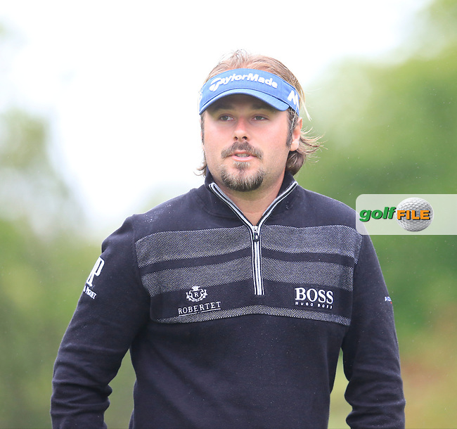 Victor Dubuisson (FRA) on the 17th green during Thursday's Round 1 of the 2016 Dubai Duty Free Irish Open hosted by Rory Foundation held at the K Club, Straffan, Co.Kildare, Ireland. 19th May 2016.<br /> Picture: Eoin Clarke   Golffile<br /> <br /> <br /> All photos usage must carry mandatory copyright credit (&copy; Golffile   Eoin Clarke)