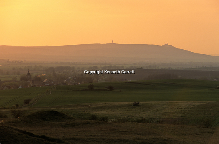 Mt. Kyffhauser at sunset, landmark that the sky disk aligned with to mark May 1st, end of frost season, Sky Disk; Bronze Age; Ancient Cultures; Germany.