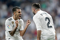 Real Madrid's Dani Ceballos (l) and Daniel Carvajal celebrate goal during La Liga match. August 19,2018.  *** Local Caption *** &copy; pixathlon<br /> Contact: +49-40-22 63 02 60 , info@pixathlon.de