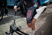 Martin Mortensen (DNK/Cult) stretching before his TT<br /> <br /> 3 Days of De Panne 2015<br /> stage 3b: De Panne-De Panne TT